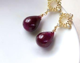 Very Special AAA Raspberry Ruby, 22kg Vermeil Earring