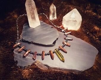 Crystallo / Lemon quartz, crystalline necklace