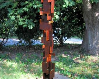 Bird Feeder Modern Build series bird feeder No. 22 in patina steel and copper