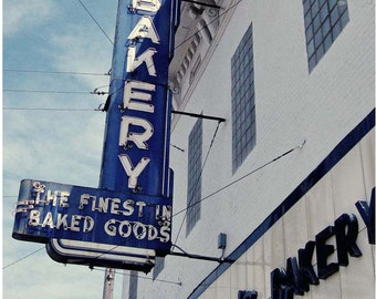 Neon Bakery Sign in Blue and White - 5x7 Retro Americana Photograph - Vintage Sign Wall Art - Neon Sign Photo Art - Ohio's Schuler's Bakery