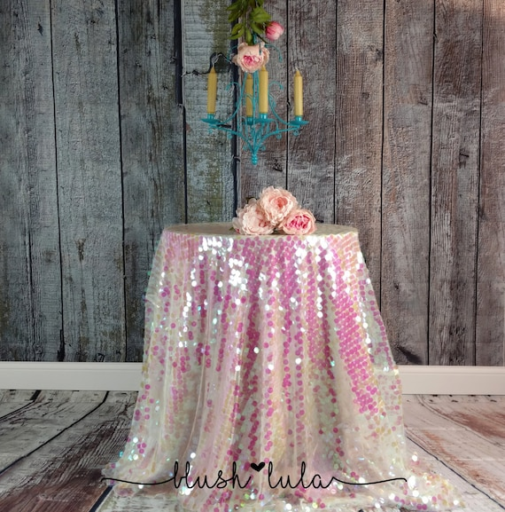 Pale Pink More Colors Iridescent Round Sequin On Tulle