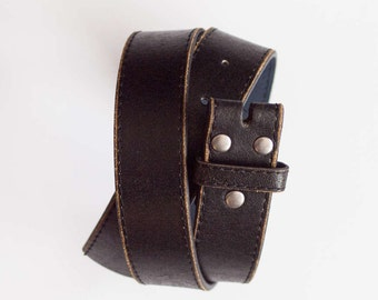 Leather Snap Belt Distressed Leather Snap Belt BLACK Snap on Belt Leather Belt Belt Strap for Buckle 1.5 Inch Wide Belt Jeans Belt