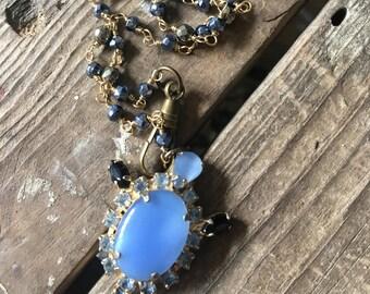 Shenanigans Blue Vintage Rhinestone Handmade Wire wrapped Pyrite