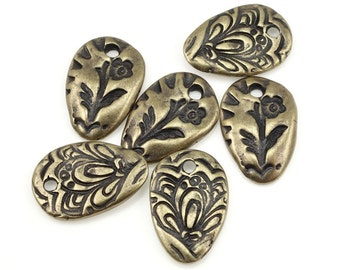 Bohemian Charms Brass Charms TierraCast FLORA CHARM Bronze Charms for Jewelry Making Woodland Flower Nature Organic Rustic Charms (P1388)