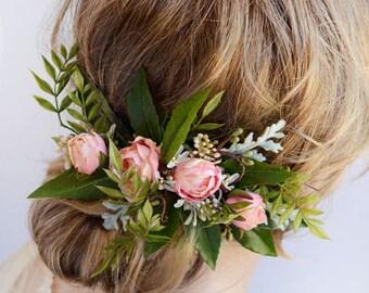 bridal headpiece, bridal hairpiece, hair clip wedding, wedding headpiece, pink flower hair clip, leaf hair clip, floral hair comb, rosebuds