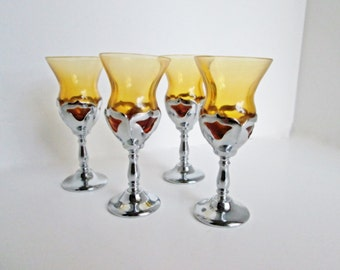 Farber Brothers Art Deco Amber Cordial Glasses, Chrome stem glass, Mid Century Cambridge Glass, Aperitif Sherry Glasses, amber glass inserts