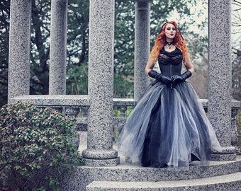 "Two-Toned Tulle Skirt - Wedding Gothic Petticoat Black Grey Cosplay Halloween- Petite to Plus size ""2-Tone Petti-Skirt"" - Custom to Order"
