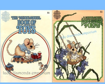 The Merry Mouse Book of Favorite Poems + Merry Mouse Book of Toys Vintage Cross Stitch Pattern Books Gloria & Pat Framed Art Childs Quilt