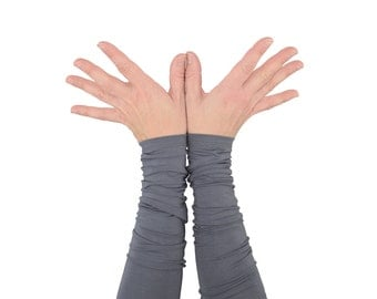 Arm Warmers in Silver Fox Grey - Bamboo Long Cuffs - Eco Friendly - LAST PAIR