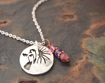 Gemstone and Chickadee Necklace