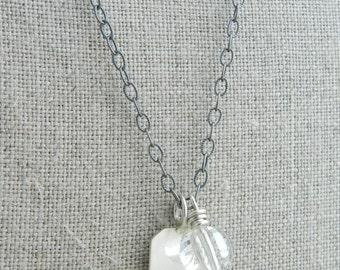 Organic Stamped Sterling Leaf Metalsmith Pendant Necklace --Minimalist Tag Jewelry--Vintage Crystal