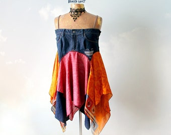 Colorful Hippie Shirt Upcycled Jeans Boho Chic Clothing Women's Flowing Top Festival Clothes Stevie Nicks Tank Gypsy Eco Top L 'ADRIANA'