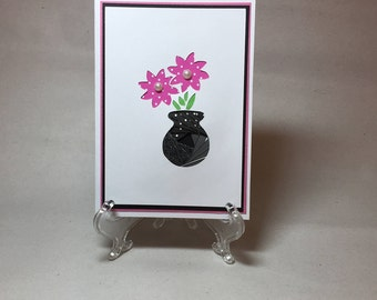 Beautiful Iris Folded Flower Vase Card, Mother's Day Card, Friend Card, Just Because Card,  Love Card, Anniversary Card, Birthday Card