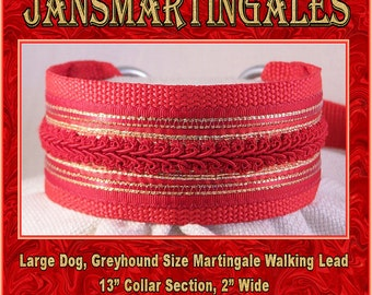 Janmartingales, Red Walking Lead, Dog Collar and Lead Combination, Greyhound, Large Dog Size, Red158