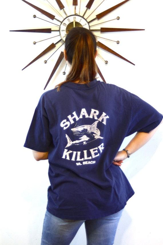 Distressed Vintage Surf T-Shirt Killer Shark Thrashed Holes Faded Navy Blue Graphic Pocket Virginia Beach VA RAS Souvenir Mens Tee Size L