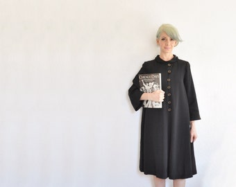 mid century noir black dress coat . short mod collar evening jacket .medium .sale