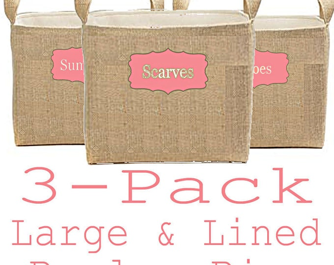 Burlap Storage Bins, Bedroom Organization Bins, Large Square Burlap Bins, Storage Boxes, Personalized Labeled Baskets, Home Organization