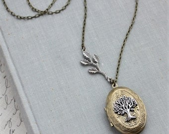 Tree Of Life Mixed Metal Locket Necklace. (Long). Branch.