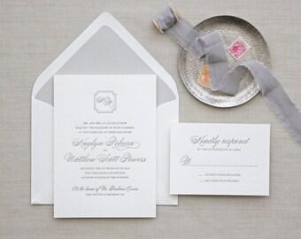 Letterpress Wedding Invitation - Monogram Design - Foil Stamping- Calligraphy,Traditional, Elegant, Simple, Classic, Script, Destination