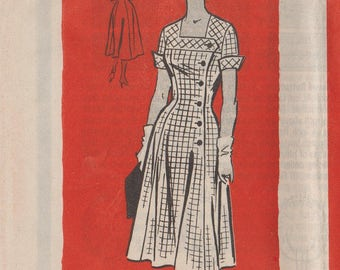 Vintage Mail Order Sewing Pattern / Marian Martin 9148 / 1950s Dress / Bust 38