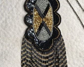 GORGEOUS SEQUIN NECKLACE, Repurposed From a Appliqué, with Dangling Beads, Dressy, Fancy, Ooak