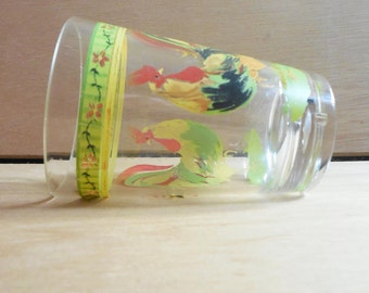 Vintage Rooster Tumblers * Set of 4 * Farmhouse / Year of the Rooster decor