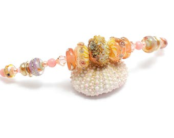 Exquisite Lampwork Bead Necklace. Light Coral Glass Bead Pendant. Artisan Seashell Beads. Birthday Anniversary Mother's Day Gift Ideas.