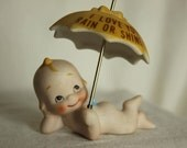 Porcelain Love Figurine with Baby and I Love You Rain or Shine umbrella Sweet 3 piece set for your loved one Cherub Angel Love declaration