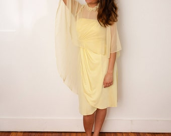 Vintage Yellow Dress and Cape - Pale Yellow Two-Piece Set - Vtg 1960s Party Dress - Dress with Shawl -Size Small - Gift For Her