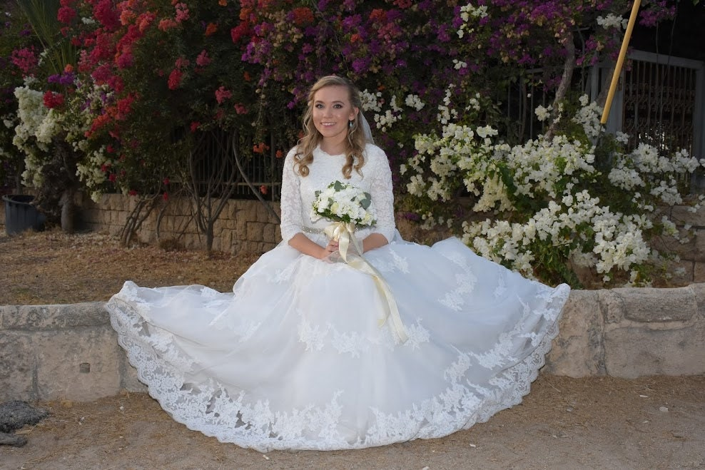 French Lace Wedding Gown: Modest Wedding Dress Ballgown With Sleeves And French Lace