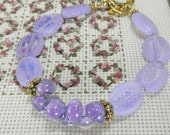 RESERVED Opal Lavender Czech and Borosilicate Glass Bracelet with Toggle Clasp