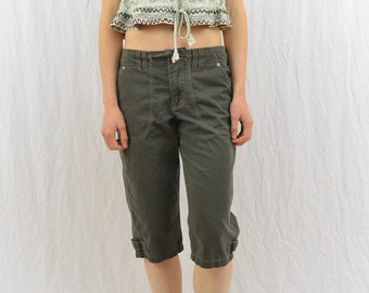 Vintage Embroidered Crop Top, Size XS, Festival Clothing, Hippie, 90's Clothing, Earthy, Green, Boho, Grunge