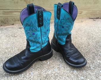 Ariat Cowboy Western Boot Fat Baby Black Aqua EURO 39 US 8