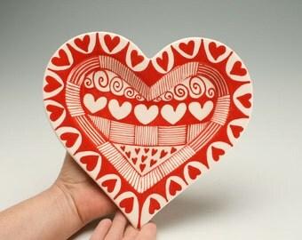 Large Heart Shape Rim Dish, Red and White Heart Bowl, Valentines Day Gift, Candy Dish, Wedding, Anniversary, Valentine Dinnerware