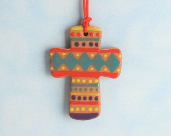 Small Red Clay Cross, Handmade Ceramic Cross, Confirmation Cross, Christian Ornament, Baptism Cross, Christening Favors, Easter Basket Idea