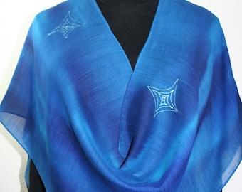 Blue, Turquoise Silk-Wool Shawl BLUE HUG. Warm Silk-Wool Scarf by Silk Scarves Colorado. Large 14x68. Bridesmaid Gift, Mother Gift
