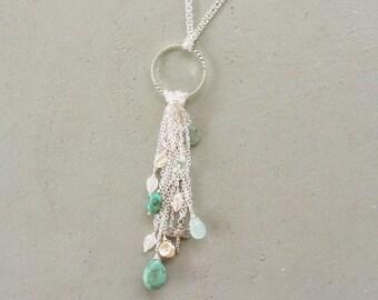 Tassel Necklace, Long Silver Tassel Necklace, Rainfall Necklace, Silver Beaded Tassel Necklace, Tassel Pendant Silver, Dangle Charm Tassel