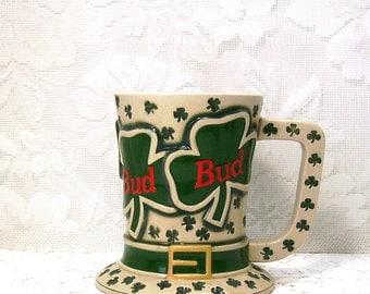 St Patrick's Day Beer Stein - Budweiser Beer Stein - Tip O' the Hat Stein - 1995
