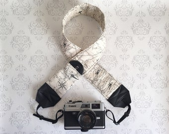 DSLR Camera Strap, Extra Long, Padded with 2 Lens Cap Pockets, Nikon, Canon, Binoculars Strap, Photographer Gift - Maps