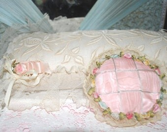 Antique SILK Powder Puff Case FRENCH Ombre' Ribbon ROSES