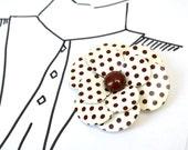 Polka Dots Maroon Brown Flower Brooch - Vintage Enamel Pin - Something Old