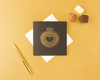 Gold Sacred Heart Card // Love Card - Heart Card - Anniversary Card - Mothers Day Card