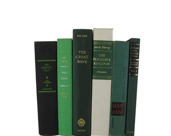 Shades of  Green  Vintage Decorative Books,  Book Decor