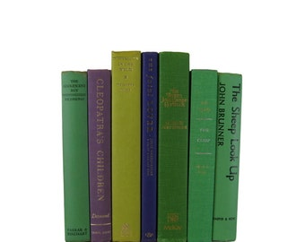 Green Purple Yellow Stack of Books, Rustic Books,  Vintage Books,  Home Decor, Wedding Decor, Old Books,  Centerpieces, Used Books