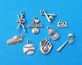 Baseball Charm Collection Antique  Silver Tone 9 Different Charms - COL054