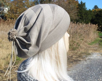 Slouchy Hats Women's Beanie Striped Tan Cotton Lightweight Unique Fashion Style with Leather Tie Back A1567