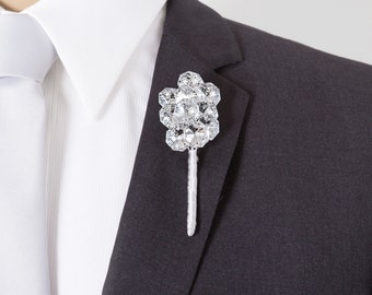 Wedding Boutonniere - Silver Mirrored Boutonniere - Bling Boutonniere - Grooms Boutonniere - Prom Boutonniere