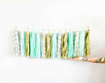 Mint and Gold Polka Dot Tassel Garland - St. Patrick's Day, Mint Wedding, Gender Neutral Baby Shower, Birthday Cake Smash, High Chair Banner