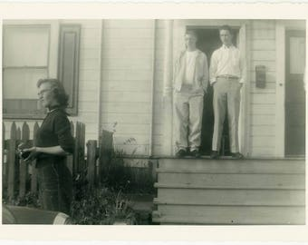 "1954 Americana Snapshot ""The Overprotective Brothers"" Men Man Stand Front Porch House Home Sister Family Black & White Vernacular Photo - 28"