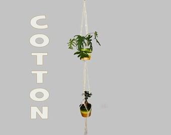 COTTON Double Macrame Plant Hanger / Large Hanging Planter / Two Tier Pot Hanger / Dual Flower Pot Holder / Ceiling Plant Holder / Bohemian